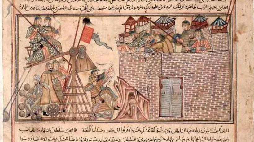 Portrayal of Counterweight Trebuchet in MS of Rashid al-Din's Jami` al-Tawarikh, early 14th century